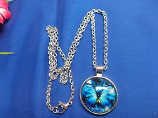 "BUTTERFLY GLASS DOME CABOCHON PENDANT ON A ST/ST OVAL CHAIN 24"" NEW # 422"