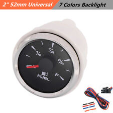 52mm Universal Car Marine Boat Pointer Fuel Level Gauges Meters 7 Colors Backlit