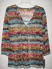NWT Magicsuit -M- Swimsuit Bikini Coverup Caftan Sheer Multi Print Shirt