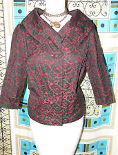 "1950 ""Comar"" of Spain Handwoven Lace Jacket in Black and Brown Portrait Collar"