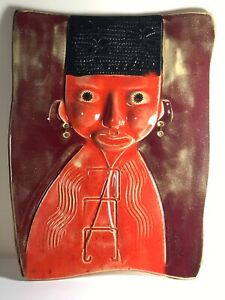 "12"" Edmundo Larios Pottery Man In Red  Black Hair Contemporary Wall Decor Plaque"