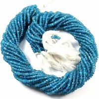 """Neon Apatite  Natural Gemstone Rondelle Faceted Beads Full 13"""" Strand 3-3.5 mm"""