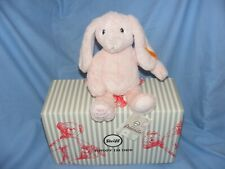 More details for steiff my first rabbit pink hoppie soft body plush gift new baby gift boxed