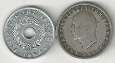 2 OLDER COINS from GREECE - 10 LEPTA & 2 DRACHMA (BOTH DATING 1954)