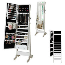NEW Mirror Jewellery Cabinet Floor Standing Storage Box Organiser White UK