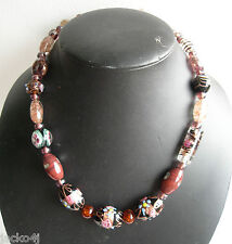 RE-THREADED VENETIAN FLORAL LAMP WORK, AVENTURINE & GLASS BEADS MADE UP NECKLACE