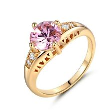 18k gold filled round pink Topaz Solitaire with Accents Prong Set rings Sz5-Sz9