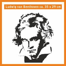 LUDWIG VAN BEETHOVEN Wandtatoo, ca. 35 x 32 cm, Hochleistungsfolie m. Montagep.