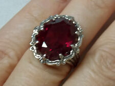 12ct red Ruby filigree antique 925 sterling silver ring size 5.5 USA