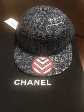 8fa949154cb 2017 CHANEL Tweed Blue Red White Sparkly Hat Baseball Cap