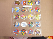 MARVEL COMICS BY MARVEL 1993  POGS/MILKCAPS COMPLETE SET OF (20) SHEETED