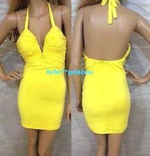 NWT bebe yellow bustier deep v halter ruched bra bodycon top dress XS 0 2 club