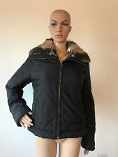 Miss Sixty Black Puffer Jacket Coat Brown Faux Fur Lining Collar Styled Italy M