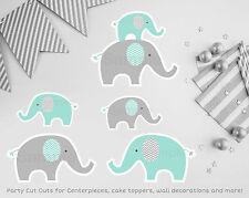 Mint Green & Grey Chevron Elephant Printable Party Cutouts Decorations