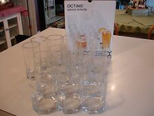 Octime Luminarc by Durand International 18 Piece Set of Clear Glasses - 3 Sizes