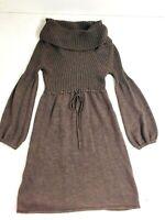 Calvin Klein Sweater Dress SZ L Wool Ribbed Cowl Drawstring Waist Baloon Sleeve