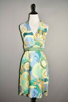 TIBI $695 Multi-Color Printed Silk Halter A-line Dress Size 8