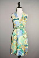 TIBI $695 Multi-Color Printed Silk Halter A-line Dress Size 8