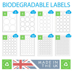 500 Sheets Biodegradable Round Labels, Eco Friendly Compostable Printer Stickers