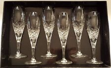 Caledonian Fully Cut 24% Lead Crystal Champagne Flutes x 6 In Presentation Box