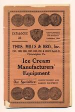 c1910 ANTIQUE CATALOG Thomas Mills ICE CREAM MANUFACTURER EQUIPMENT Philadelphia