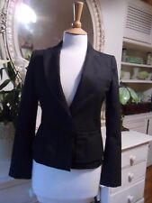 HOBBS NW3 JACKET DARK GREY WOOL BLEND SIZE 6 PEPLUM SMART WORK BUSINESS
