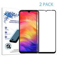 2X For Xiaomi Redmi Note 7 Full Cover Tempered Glass Screen Protector -Black