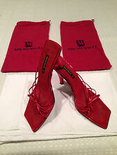 Vintage BRUNO MAGLI Red Lamé Evening Sandals Shoes Heels Slides Size 8.5 M ITALY