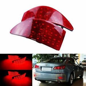 Pair LED Rear Bumper Reflector Tail Brake Light for Lexus IS250 IS350 2006-2013