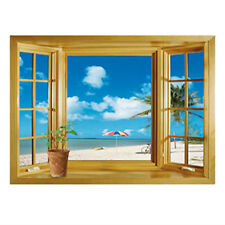 Large 3D Window Beach Sea View Wall Stickers Art Decals Mural Decor E8W4