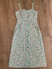Vintage 70's Retro Topshop Floral Midi Pencil Dress Strappy Button Front Size 12
