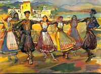 Danse des Balkans Serbie Roumanie Bulgarie Avril Calendrier ILLUSTRATION 1956