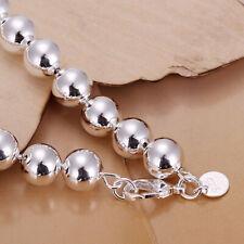 925Sterling Silver Lovely Prayer Beads Ball Bracelet 10MM H136