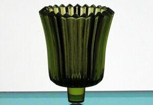 Home Interiors Peg Votive Candle Holder Ridged Olive Green Glass