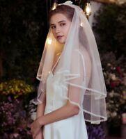 Wedding Veil White Ivory Short Lace Edge Bridal Veils Champagne Beautiful Custom