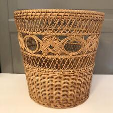 Vintage Brown Wicker Rattan BoHO Waste Paper Planter Wastebasket