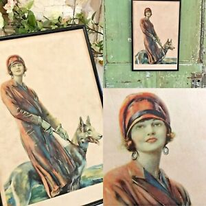 VINTAGE Old Print Framed 1930's ART DECO LADY AND HER DOG Picture Framed