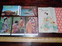 Scenes From Kyoto, Vintage Japanese Postcard Set Geisha Girls