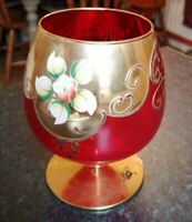 VINTAGE MURANO GLASS GOBLET RED & GOLD WITH FLOWER HAND PAINTED WITH STICKER