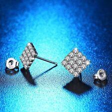 Shiny Jewelry Stud Earrings Crystal Rhinestone Silver Plated Rhombus Shape