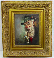 ORIGINAL OIL PAINTING OLD MAN SMOKING PIPE SIGNED