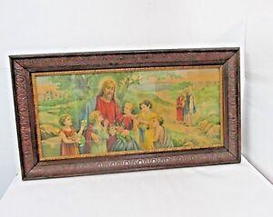 1920's Framed JESUS CHILDREN ORIGINAL LITHOGRAPH RELIGIOUS