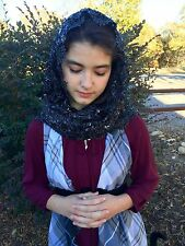 Black Sequin rectangle lace veils And mantilla Catholic scarf headcovering RBNL
