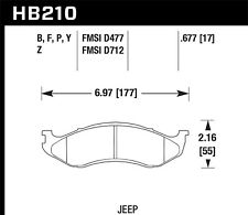 Hawk Super Duty Front Brake Pads For 90-06 Jeep Wrangler/Cherokee #HB210P.677