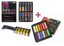 Colour Hair Chalk & Comb Set Washable Temporary Salon Pastels Dye Art Safe Kids