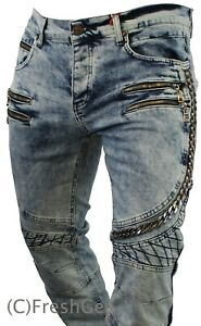 New Mens Genuine Bar of Denim Jeans Urban Funky Branded Designer Style 9300 Blue
