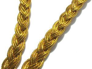 4 Metres 10 mm Wide Dark Gold Metallic Effect  Braid Plaited Gimp/Trim/Trimmings