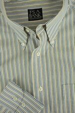 Jos A Bank Men's Bone & Navy Blue Striped Cotton Casual Shirt M Medium
