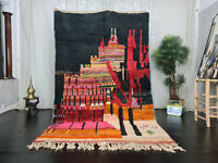 Moroccan Vintage Boujaad Handmade Rug 5'7x8'4 Abstract Black Red Berber Wool Rug