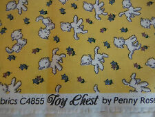 TOY CHEST BY PENNY ROSE FABRICS FOR RILEY BLAKE. ADORABLE LAMBS ON YELLOW.FAT1/4
